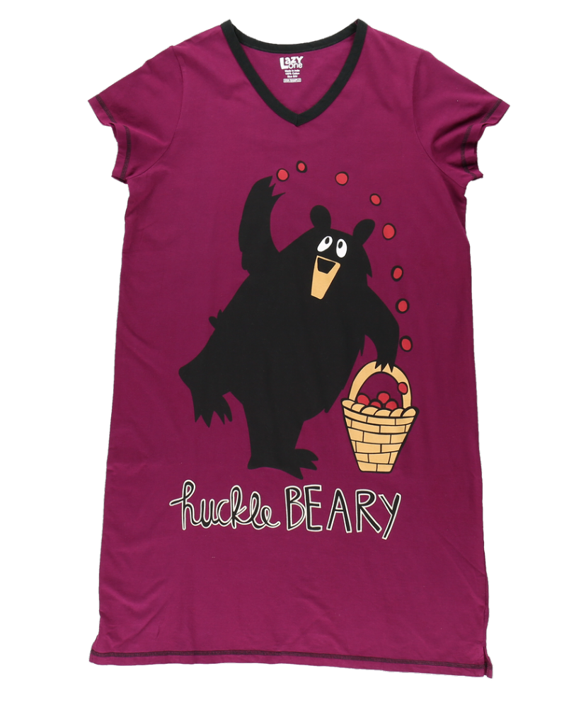 Huckle-Beary - Women's V-Neck Nightshirt - Lazy One®
